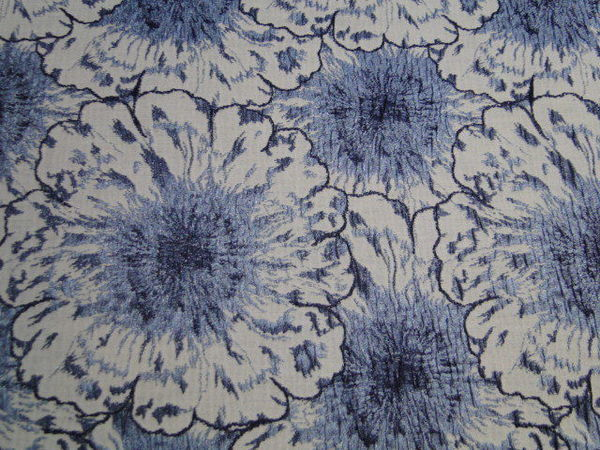 stretch jacquard stof bloem motief jeansblauw wit c927. Black Bedroom Furniture Sets. Home Design Ideas